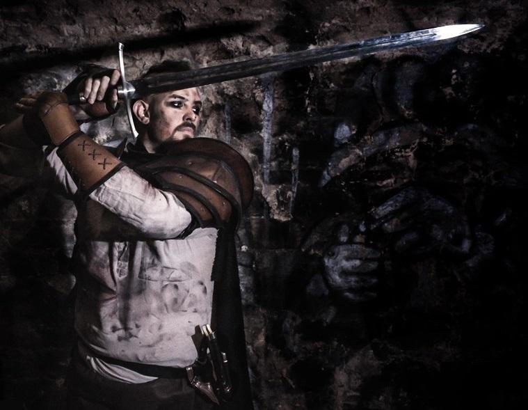 Un guerrier dans un spectacle médiéval